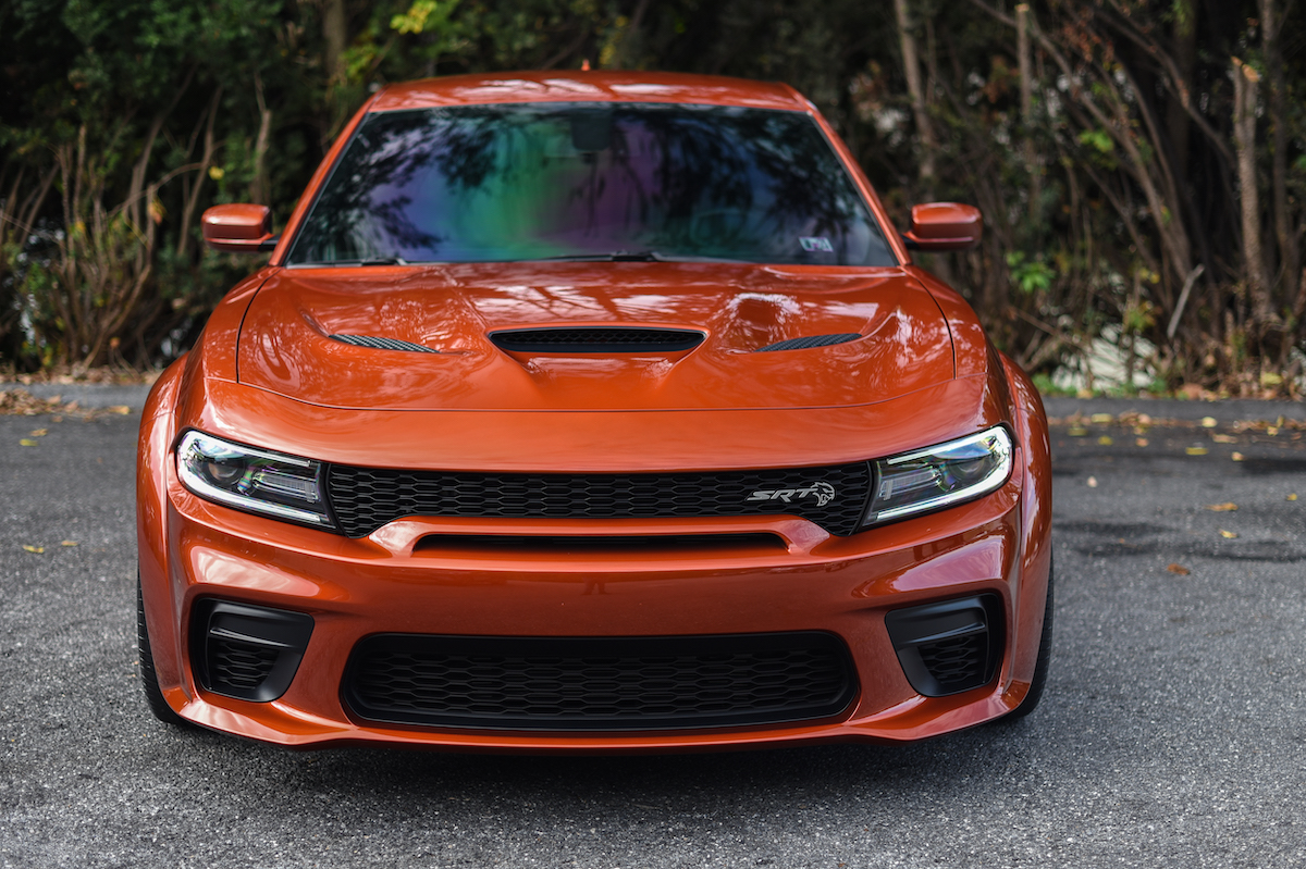 Sinnamon Orange Dodge Charger Hellcat Widebody With Winow Tint By Urban Werks